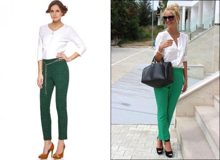 Стильные укороченные зеленые брюки