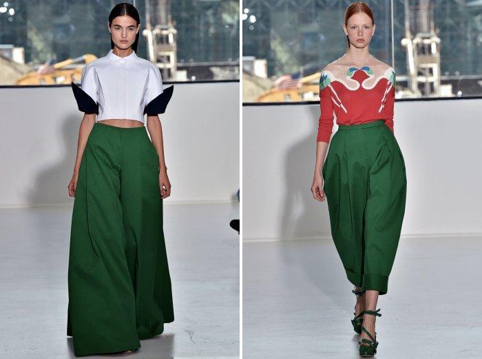 Зеленые брюки из плотного материала