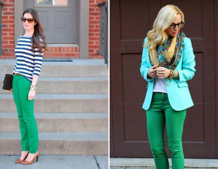 Смелые сочетания с зелеными брюками
