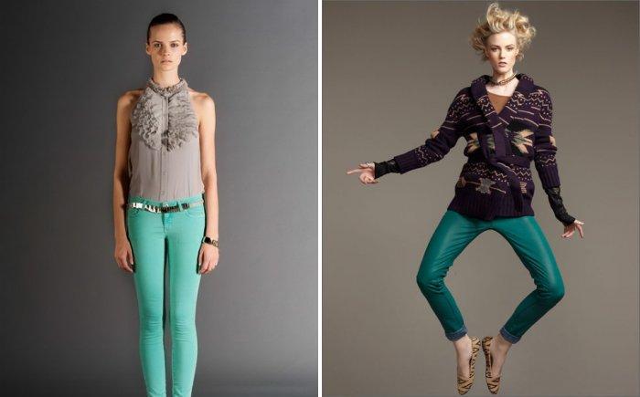 Обтягивающие зеленые брюки