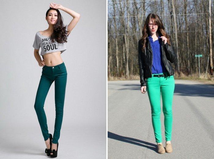 Зеленые брюки из джинсовой ткани