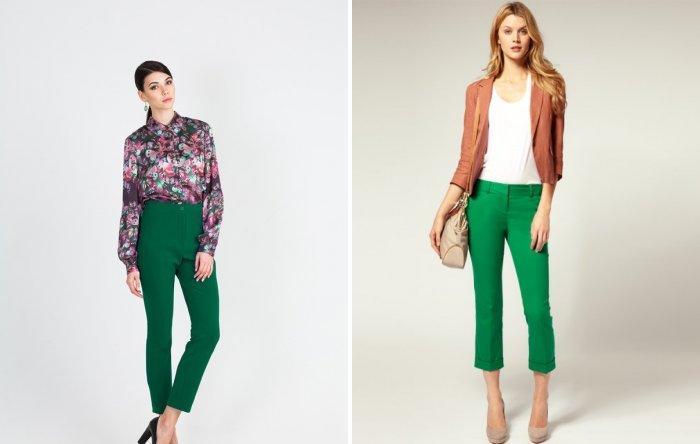Укороченные зеленые брюки
