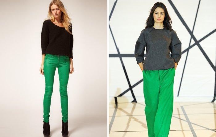Модные зеленые брюки с темным свитером