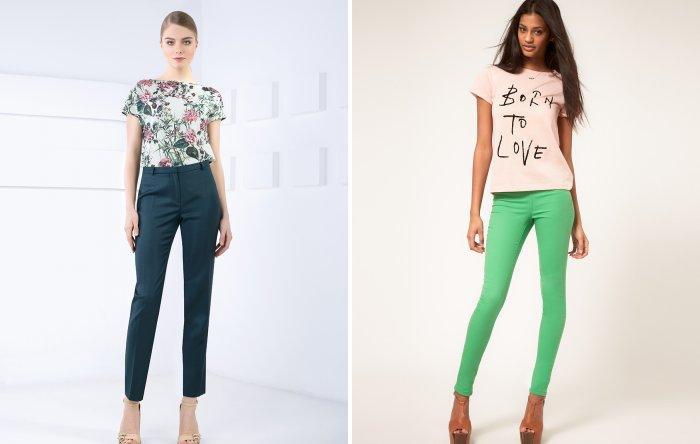 Зеленые брюки с разноцветной блузой