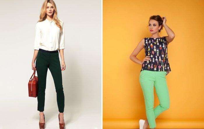 Стильные зеленые брюки