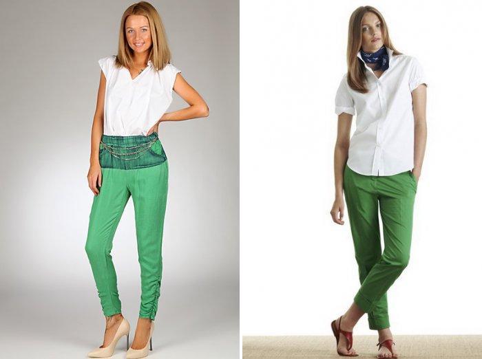 Светло-зеленые брюки