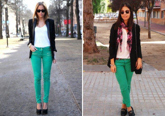 Зеленые брюки с черным пиджаком
