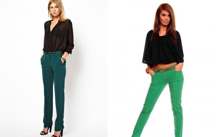 Зеленые брюки с черной блузой