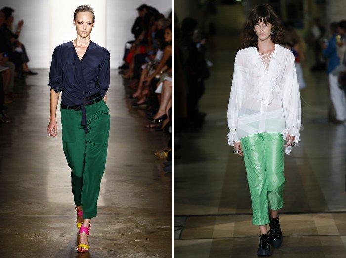 Зеленые брюки свободного покроя