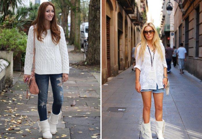 Белые сапоги с джинсами