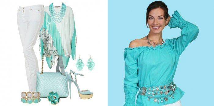 Бирюзовая блузка в сочетании с белым цветом