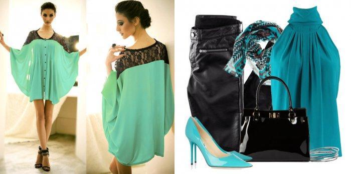 Бирюзовая блузка с черными элементами гардероба