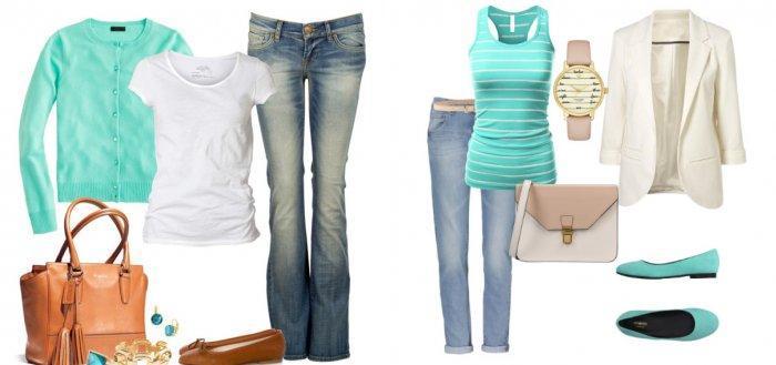 Бирюзовая блузка с джинсами