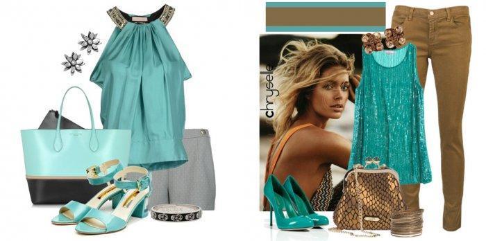 Бирюзовая блузка с бирюзовой обувью