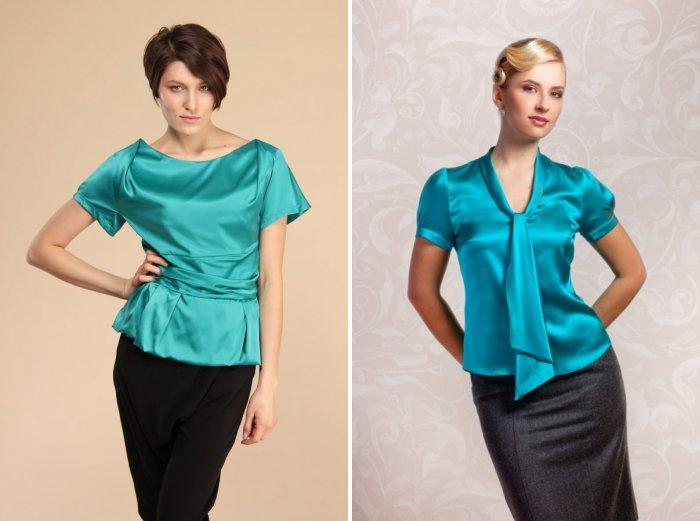 Бирюзовая блузка из атласа