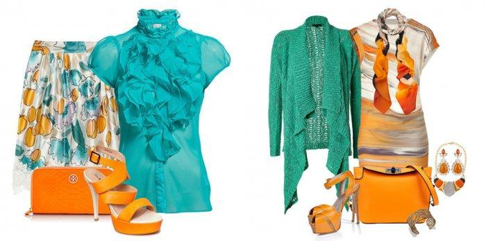 Бирюзовая блузка с ярким низом и аксессуарами