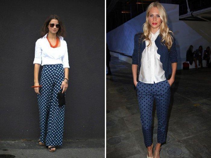 Синие брюки в белый и черный горошек