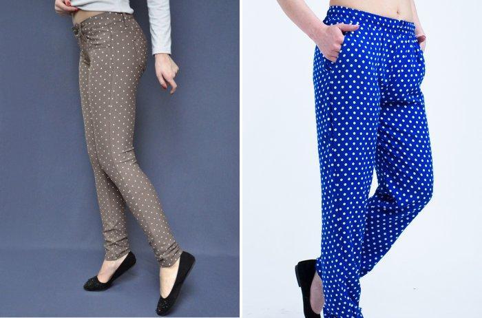 Цветные брюки в горошек