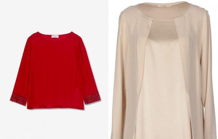 Однотонная блуза к цветным брюкам в горошек