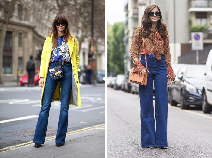 Джинсы с высокой талией и яркая блуза