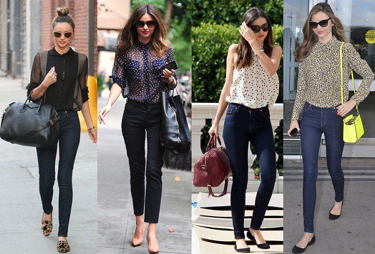 Джинсы с высокой талией в сочетании с шелковой блузой