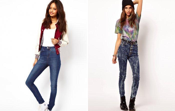 Узкие джинсы с высокой талией темно-синего цвета