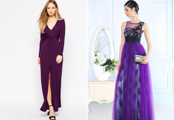 Фиолетовое платье в пол