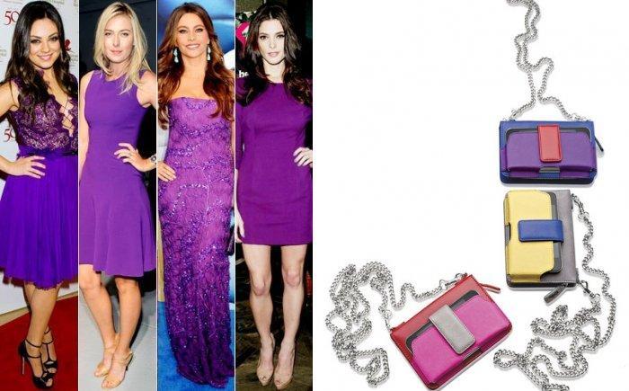 Яркие сумочки к фиолетовому платью