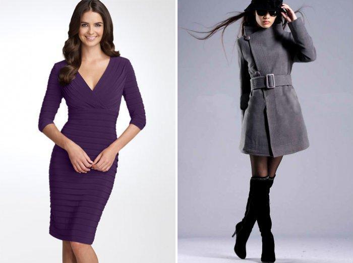 Темно-фиолетовое платье и серое пальто