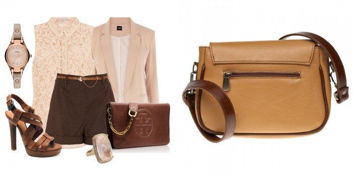 С чем носить коричневую сумку?