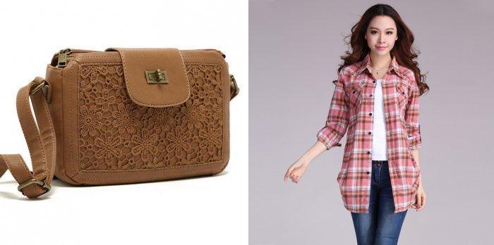 Коричневая сумка-почтальон с джинсами и свободной рубашкой