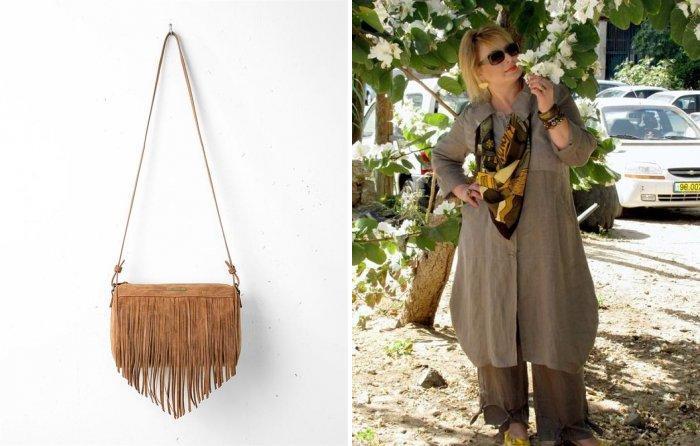 Коричневая сумка с бахромой с одеждой в стиле бохо