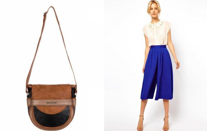 Полукруглая коричневая сумка с легкой блузой и брюками