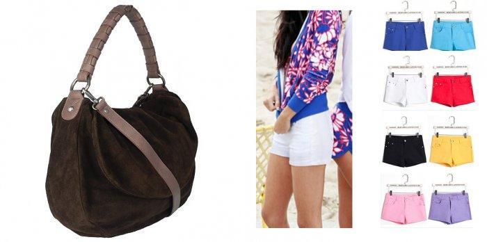 Коричневая сумка без застежки с яркой блузой и шортами