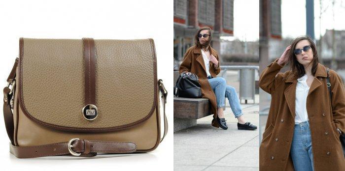 Коричневая сумка-дипломат с пальто оверсайз