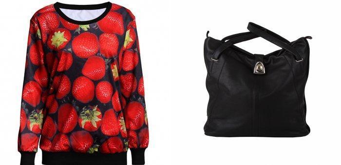 Яркая толстовка и объемная сумка для кожаных леггинсов