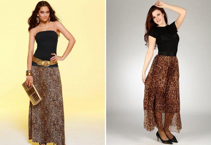 Длинная леопардовая юбка