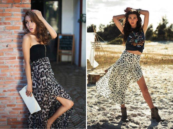 Длинная леопардовая юбка с разрезом