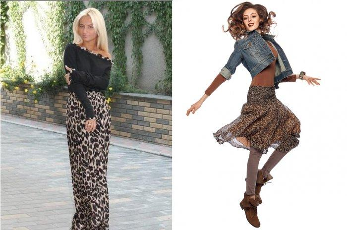 Романтический образ с длинной леопардовой юбкой