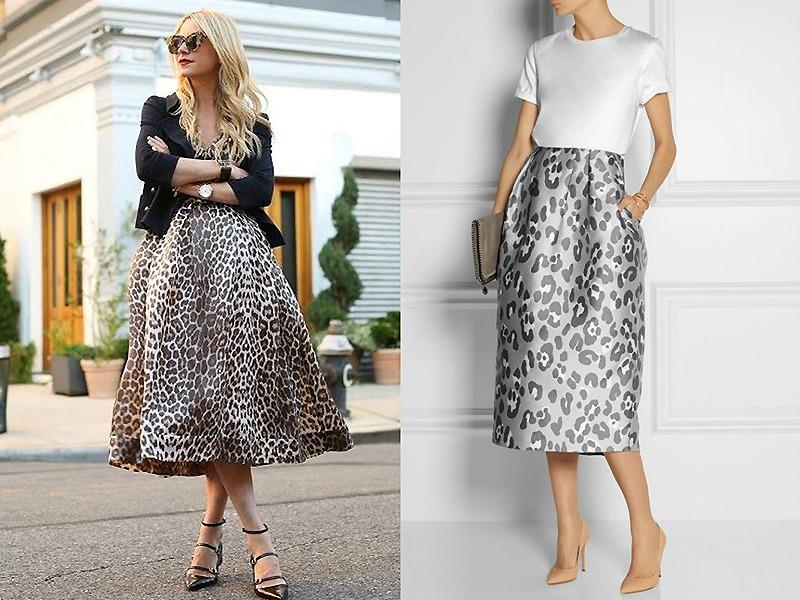 Длинная леопардовая юбка из плотной ткани