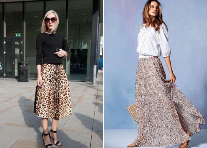 Длинная расклешенная леопардовая юбка