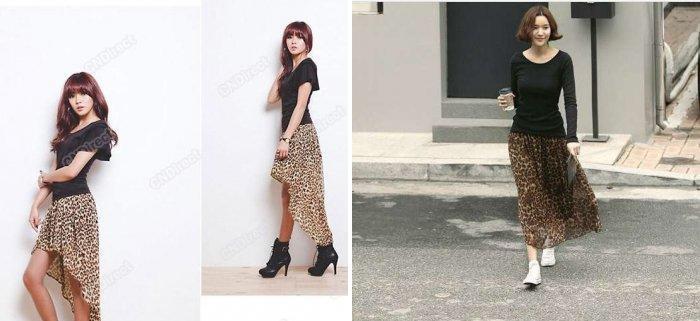 Длинная леопардовая юбка с асимметричным низом