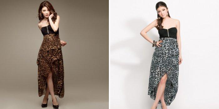 Длинная леопардовая юбка с разрезом спереди