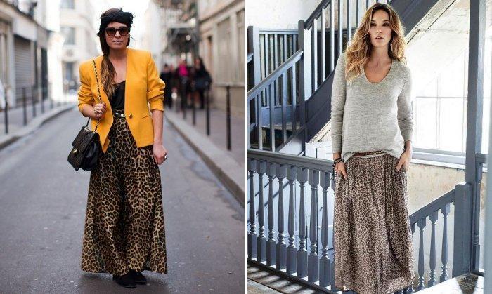 Длинная леопардовая юбка с одеждой в стиле кэжуал