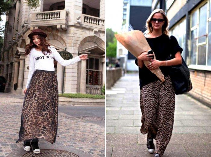 Длинная леопардовая юбка с кедами
