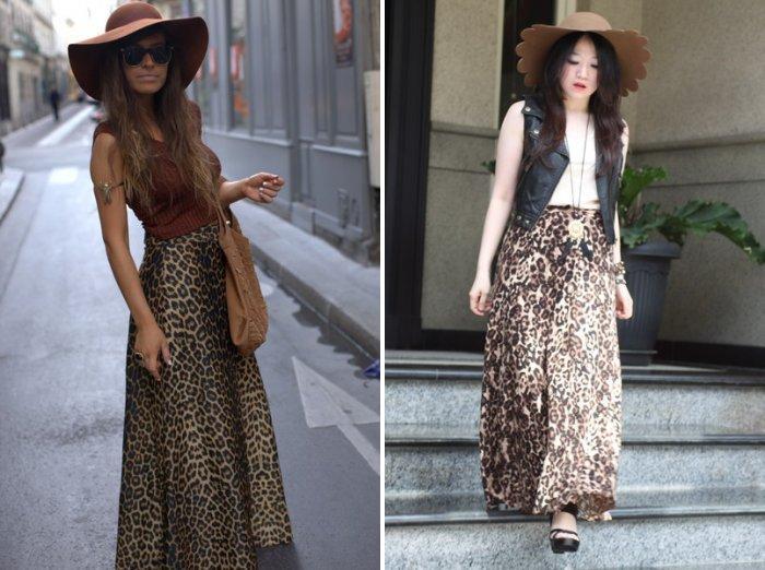Длинная леопардовая юбка с фетровой шляпой