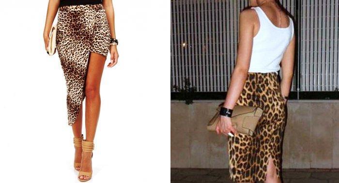 Длинная леопардовая юбка в качестве вечернего образа