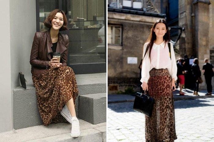 Длинная леопардовая юбка для работы в офисе