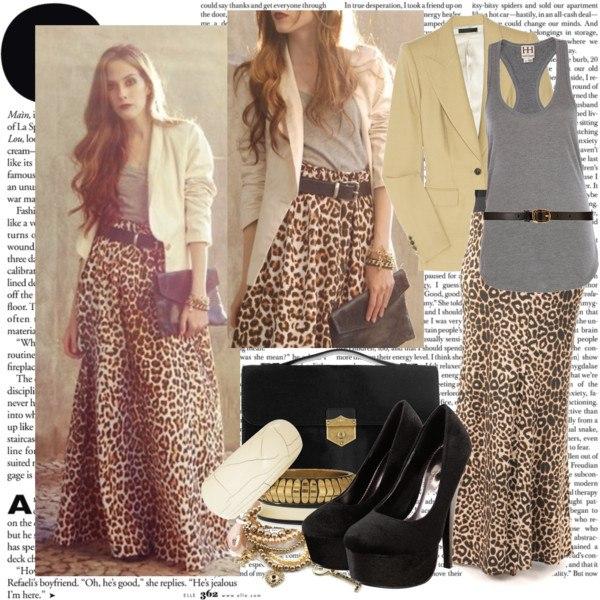 С чем сочетать длинную леопардовую юбку?