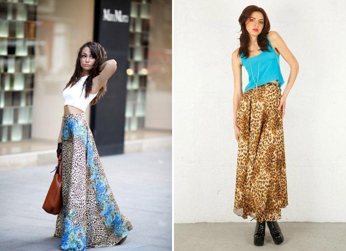 Леопардовая юбка макси